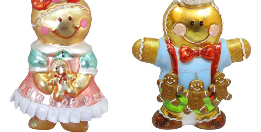 Set of 6 Glass Sweet Shoppe Gingerbread Couple Ornaments