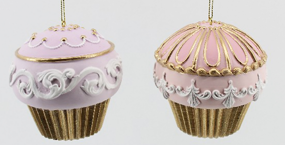 Set of 2 Pink and Lavender Cupcake Ornaments