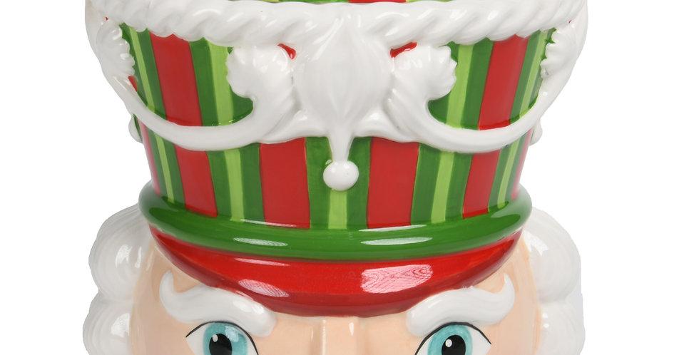Peppermint Swirl Nutcracker Head Cookie Jar