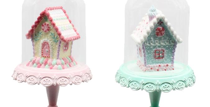 Set of 8 Ginerbread House in Cloche Ornament Decor