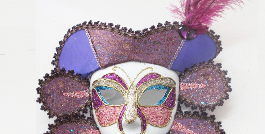 White Mardi Gras Mask with Feathers
