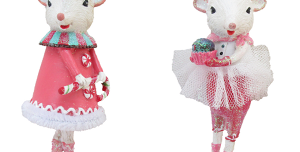 Set of 6 Sweet Shoppe Candy Theme Mice Ornaments
