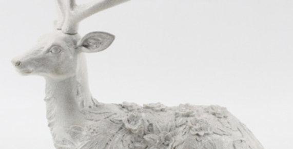 Snow Jeweled Deer Laying Down Decor