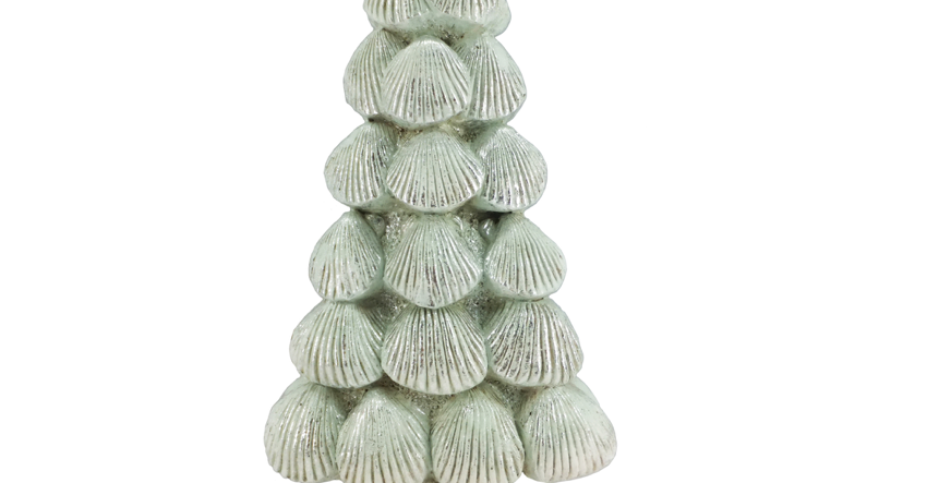 Pastel Aqua Seashell Coastal Tree