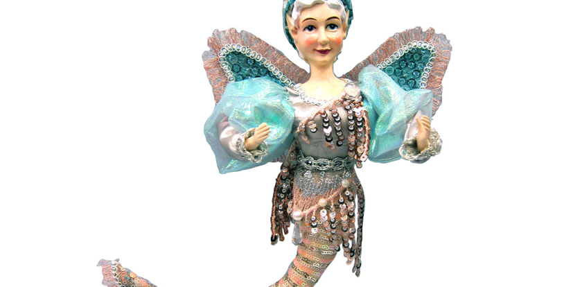 Sequined Teal Mermaid Fairy Hanging Decor