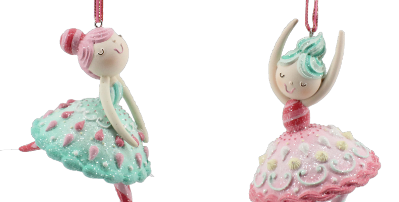 Set of 6 Frosted Ballerina Girl Ornaments