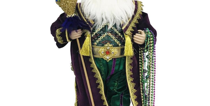 Mardi Gras Santa Holding Staff Tabletop Decor
