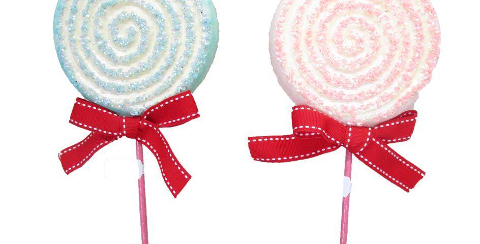 Set of 12 Pink / Blue Swirl Lollipop Tree Picks