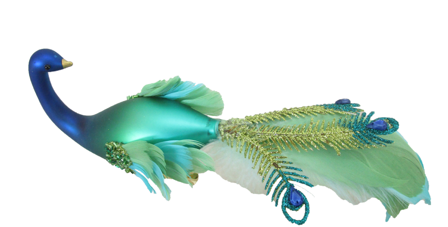 Set of 6 Feathered Peacock Bird Ornament Clip