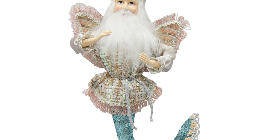 Sequined Teal Santa Merman Fairy Hanging Decor