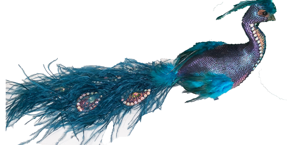 Peacock Bird with Jeweled Feather Tail Decor