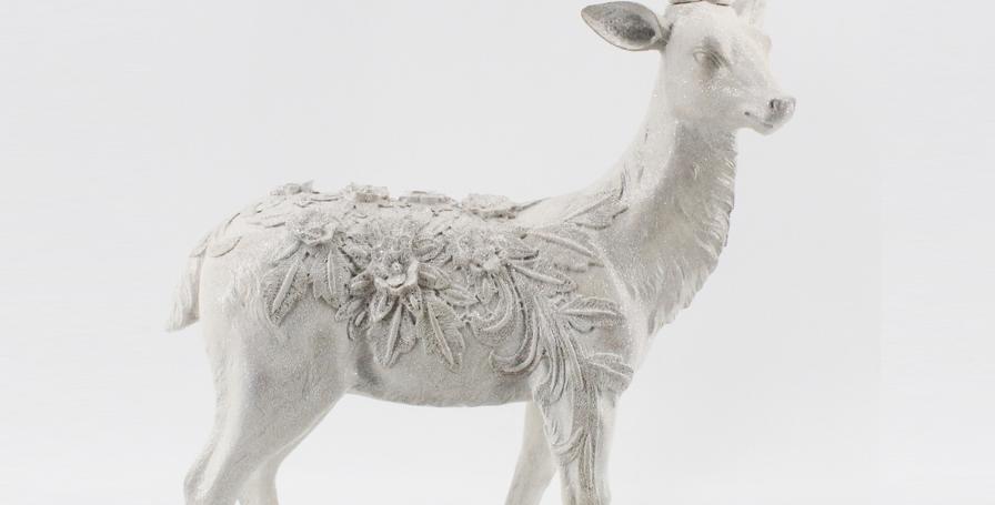 Snow Jeweled Standing Deer Figurine