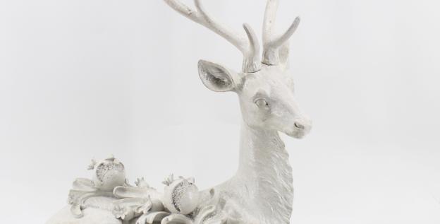 Large Display Snow Jeweled Deer Laying