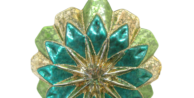 Set of 6 Peacock Colored Starburst Glass Ornament