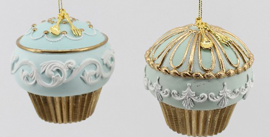 Set of 2 Blue Cupcake Ornaments