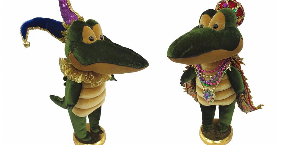Set of 2 Mardi Gras Crocodile Jesters Decor