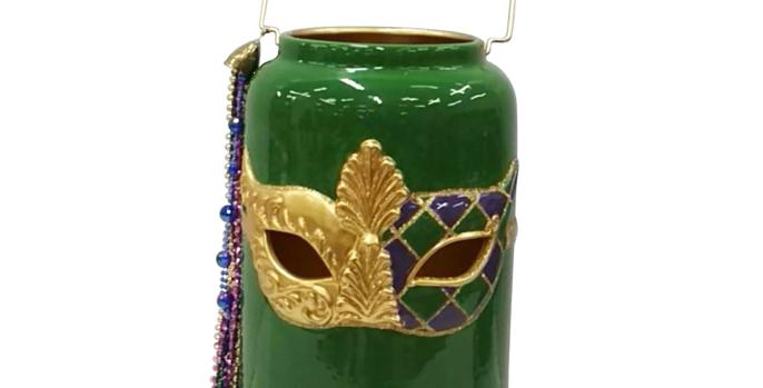 Green Mardi Gras Mask Lantern Jar Tabletop Decor