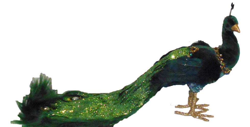Large Peacock Bird with Fur and Jeweled Tail Decor
