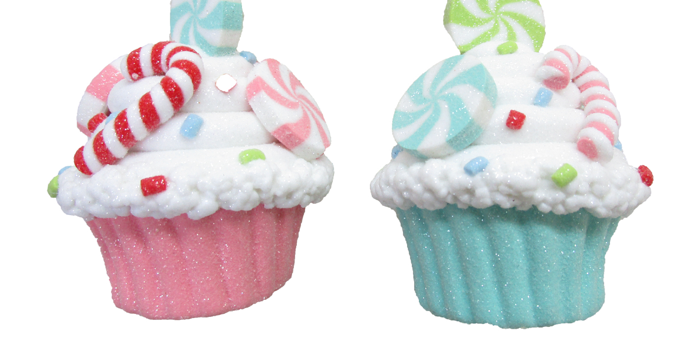 Set of 6 Sweet Shoppe Cupcake Ornaments