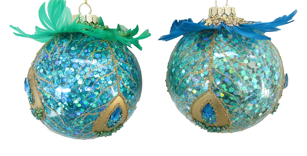 Set of 12 Glass Painted Peacock with Feathers Ornament