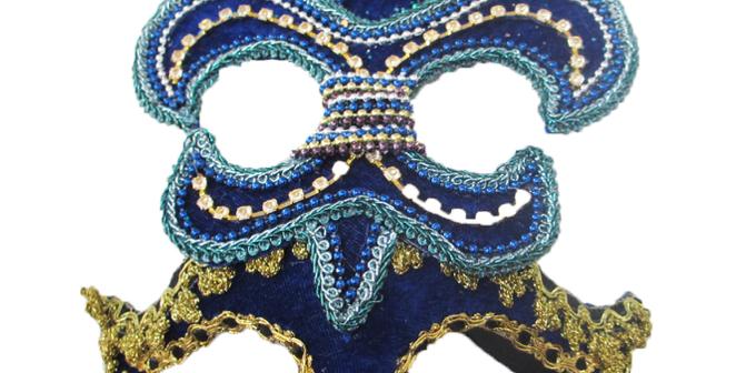 Blue Fleur De Lis Mardi Gras Mask Decor
