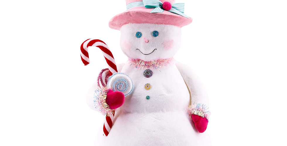 Candy Snowman w/Pink Hat and Candy Cane