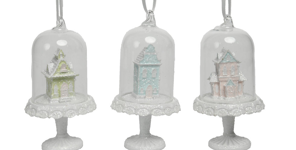 Set of 12 Assorted Gingerbread Houses in Cloche Ornament Set