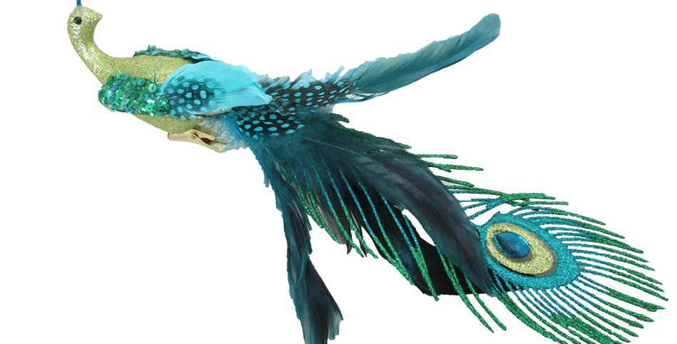 Set of 6 Long Tailed Peacock Bird Clip