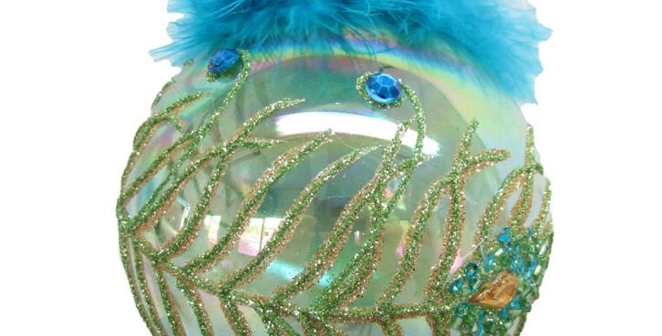 Set of 6 Glass Peacock Ornament