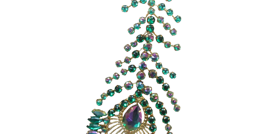 Set of 6 Jeweled Feathered Peacock Ornament