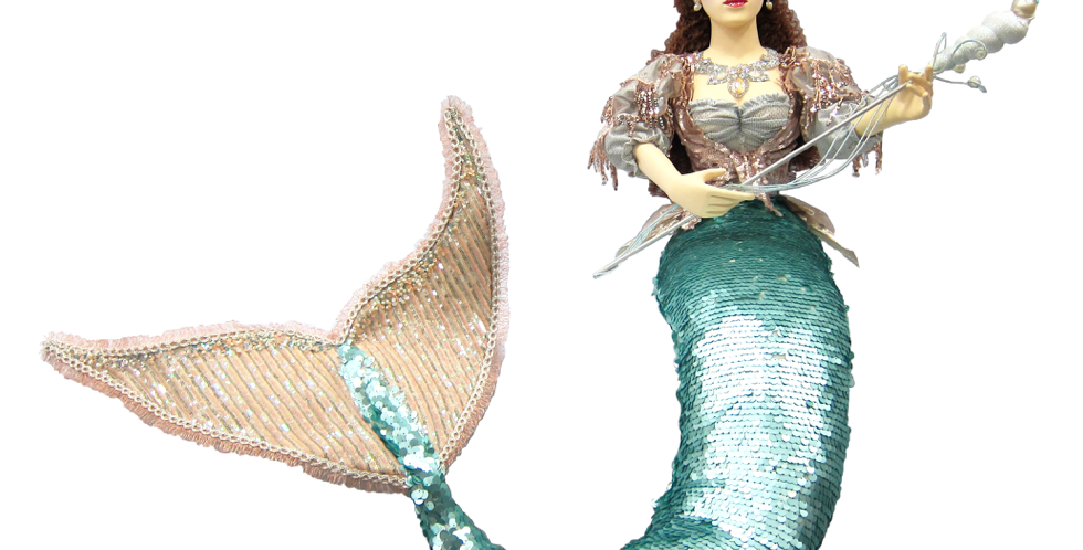 Teal Sequined Mermaid with Staff Decor