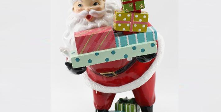 Retro Santa with Gifts Tabletop Decor