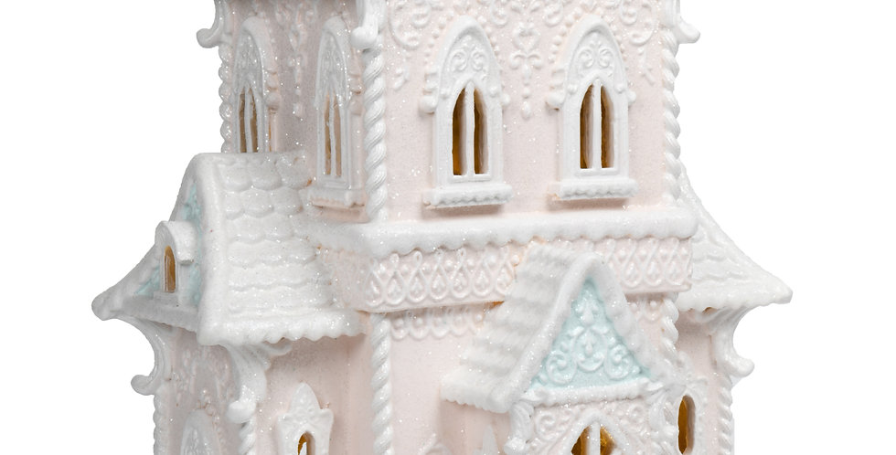 LED Lighted Pink Decorated Ginger Bread House