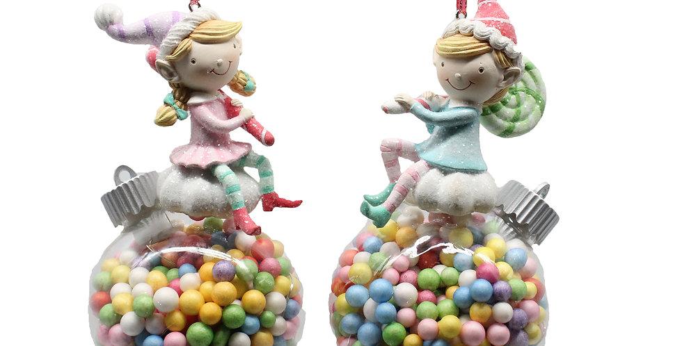 Set of 8 Assorted Boy / Girl Elves on Candy Filled LED Ornament