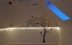 Tree stencil at night