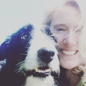 Trudy Morrison, Berwick & Borders Yoga, with collie dog Mr Kip