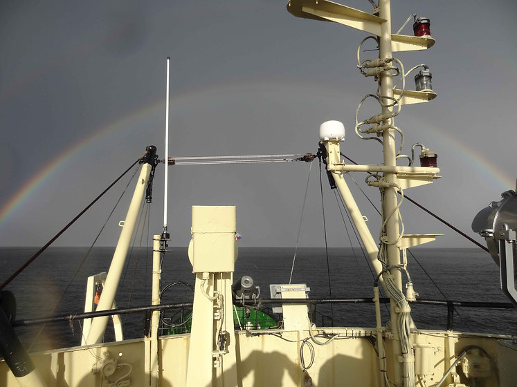 R/V Kartesh under rainbow