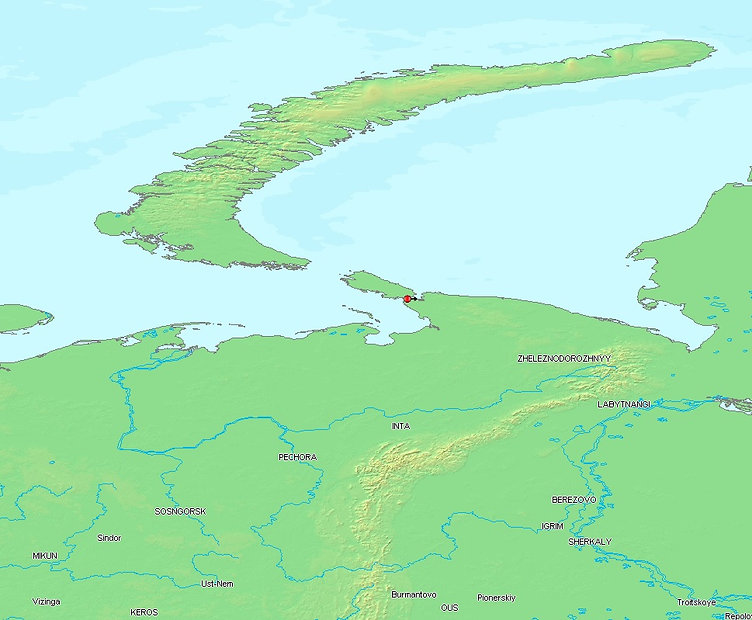 Yugorsky Strait Map