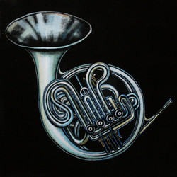 French horn. Из серии Music.Levitation  50/50 см холст/темпера 2016 г.