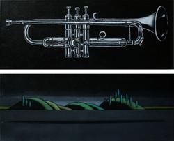 Night Trumpet  (diptych). Из серии Music.Levitation 25/25/65 см 2016 г.