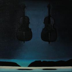 Duet.  Из серии Music.Levitation  25/25 см холст/темпера 2017 г.