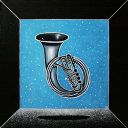 Winter horn. Из серии Music.Levitation 50/50 см холст/темпера 2016 г.