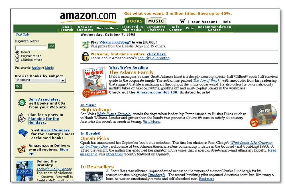 Page d'accueil Amazon en 1998
