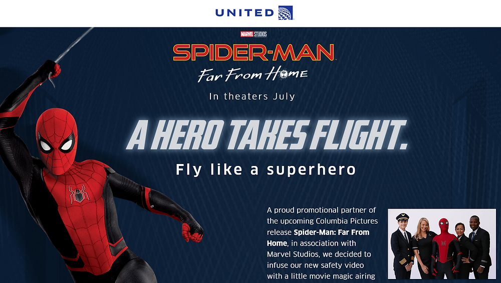 Spider-Man Far From Home et United Airlines décryptage du partenariat