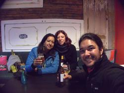 Enjoying a local beer in Akureyri