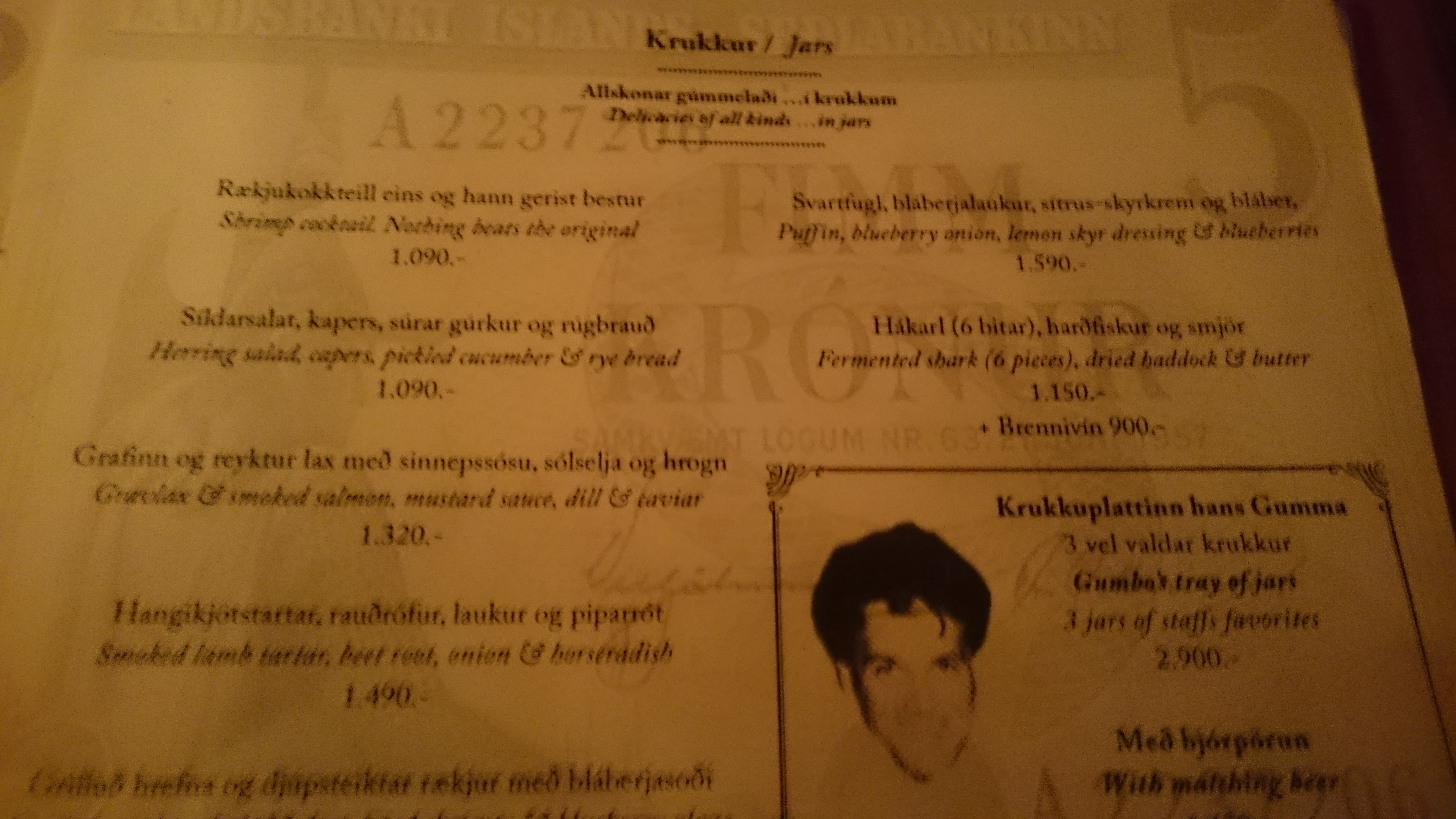 Menu of local Icelandic delicacies
