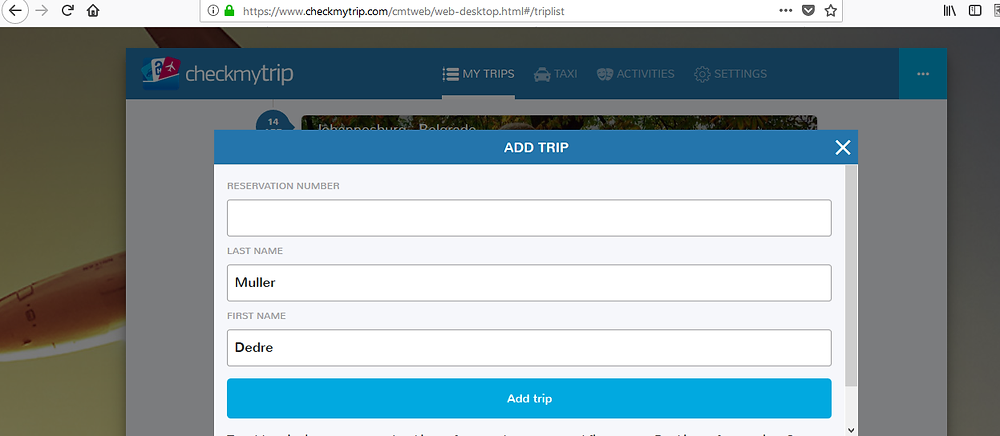 enter your PNR or reservation number and details in the add trip form