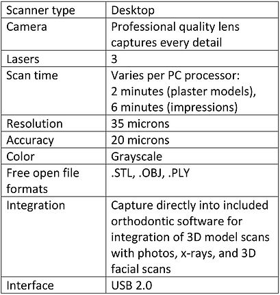 Specifications for Ortho Insight 3D scanner include 3 lasers & output of .STL, .OBJ, & .PLY file formats.