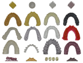 collection of 3D printed models in variety of colors & sizes