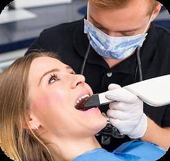 patient having intraoral scan taken of her teeth